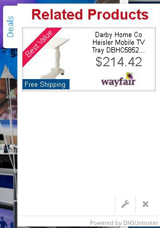 Screenshot of a pop-up ad injected by Clodaconas to online retailer pages