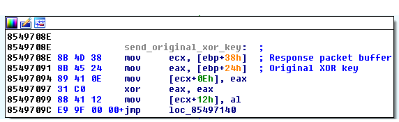 Figure 9. Code that returns original XOR key