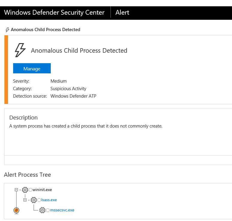 Figure 19. Windows Defender ATP detection of an anomalous process spawned from a system process