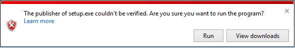 A screenshot of the SmartScreen message notifying the user that the publisher of the executable can't be verified and checking whether they would still want to run it