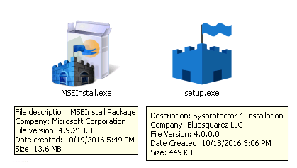 The Hicurdismos installer (left) attempts to mimic the icon of the real Microsoft Security Essentials installer (right), but file properties reveal that it is not the same.