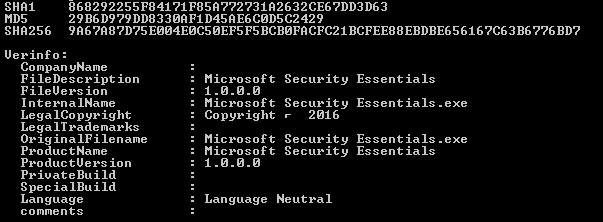 The file property information of Hicurdismos has the same details as Microsoft Security Essentials.