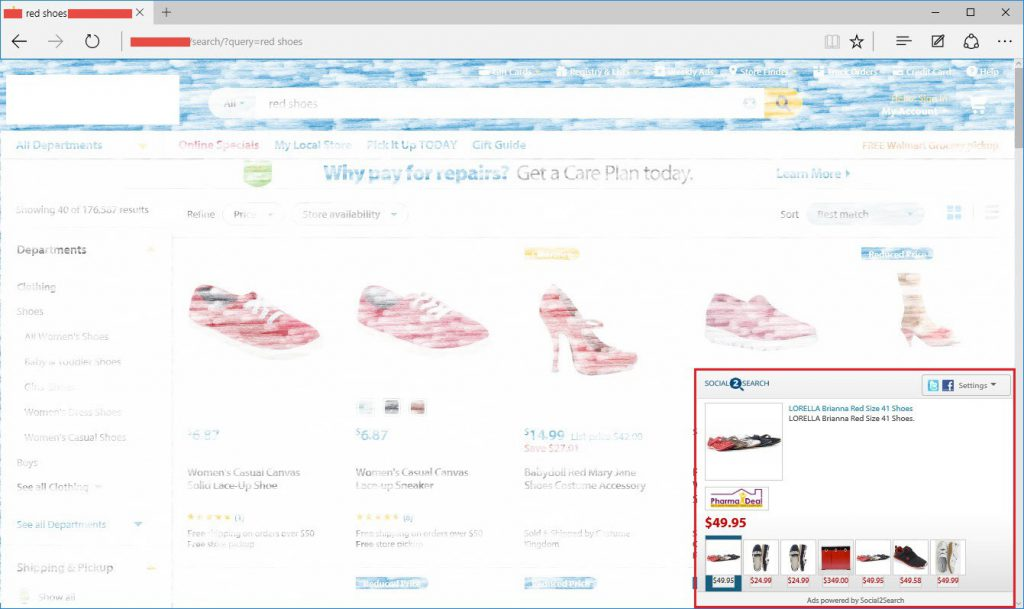 "Screenshot of Social2Search ads for ""red shoes"" on Microsoft Edge"