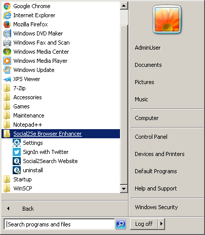 Example of shortcuts created by Soctuseer in Start Menu