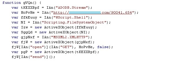 Sample of a decrypted JavaScript previously-obfuscated code