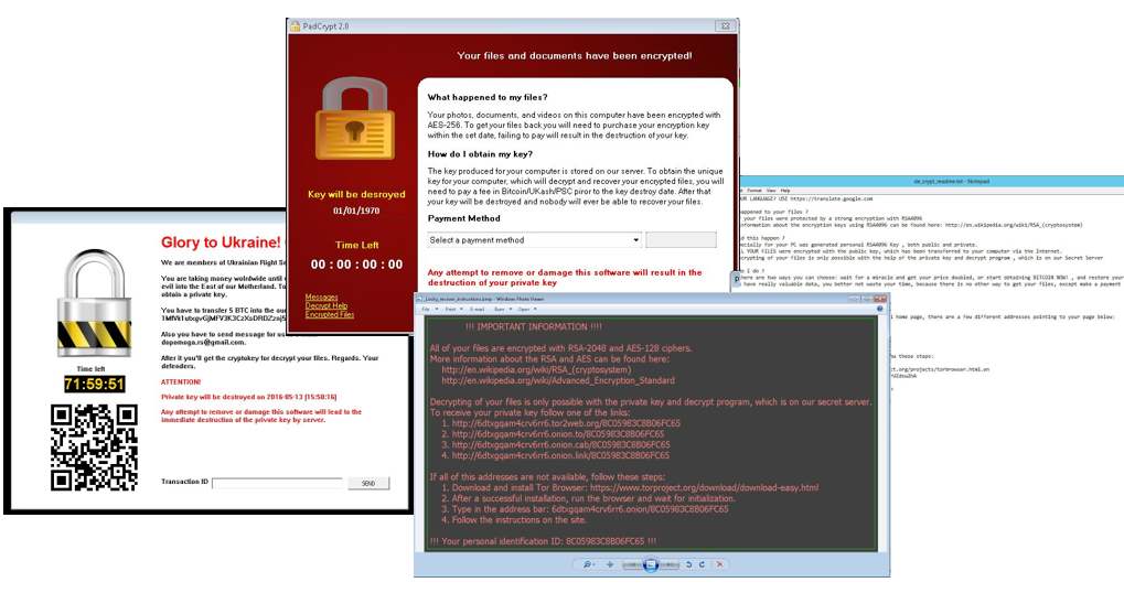 Sample ransomware lockscreens and ransom notes
