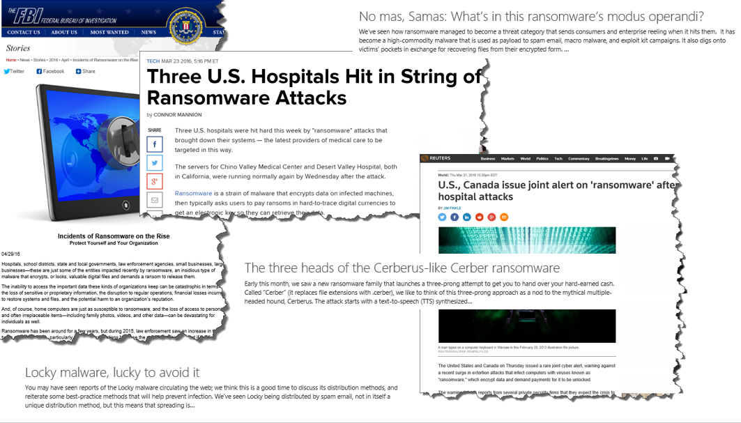 Ransomware in the news affecting crucial public and private services
