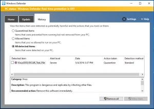 Screenshot of the Windows Defender History settings