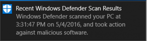 Screenshot of the Windows Defender scan notification