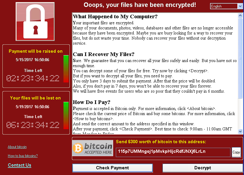 WannaCrypt Ransomware Worm Targets Out Of Date Systems