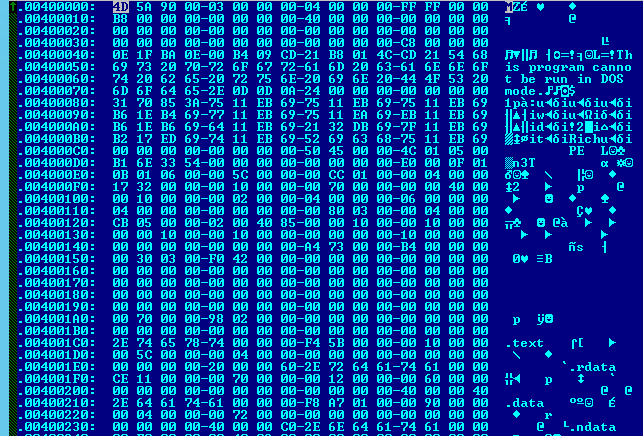 Screenshot of the decrypted Win32 executable