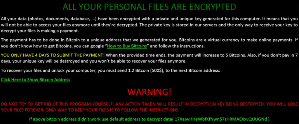Screenshot of Win32/ZCryptor.A ransom note