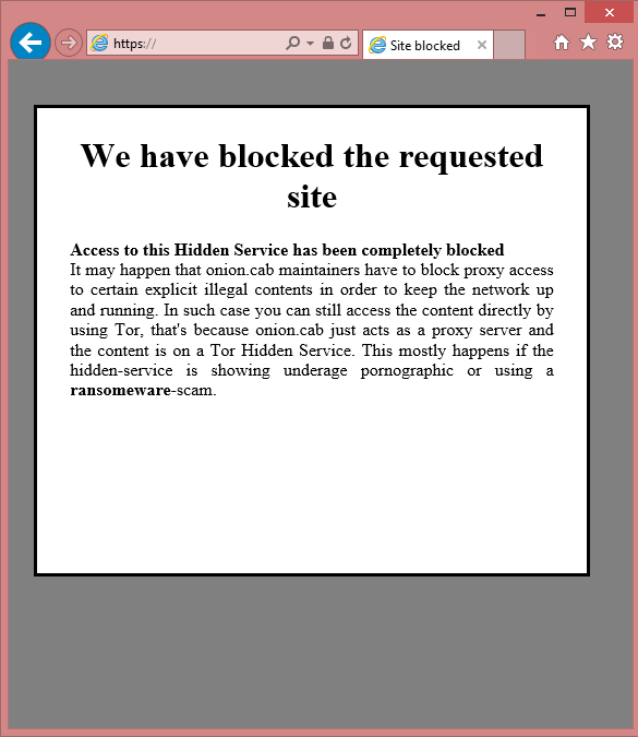 Screenshot showing that the Troldesh payment site has been blocked by Tor