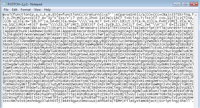 A screnshot of the JScript malware that we detect as Trojan:JS/Certor.A