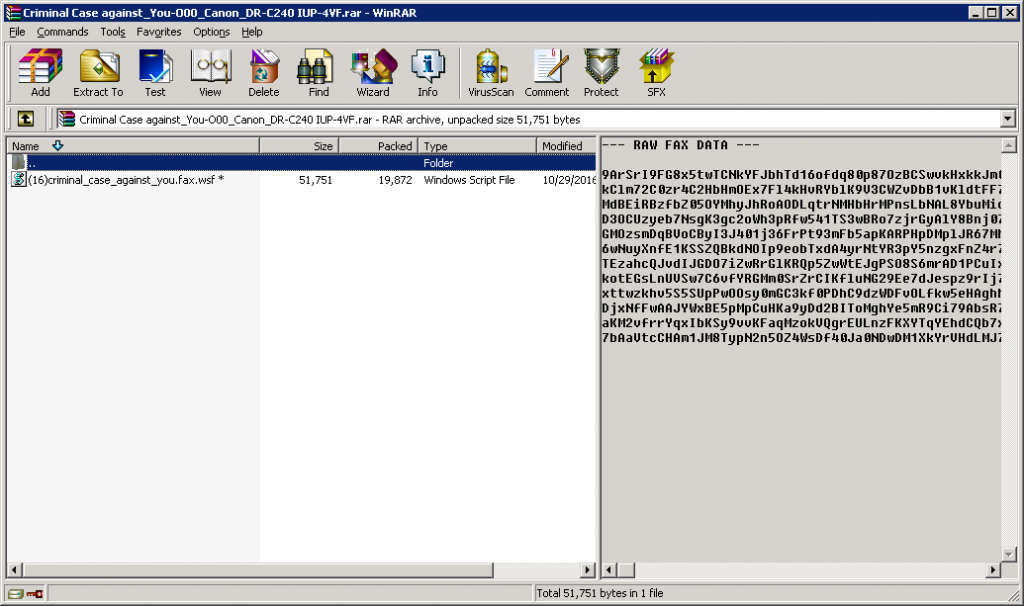 The attachment is a RAR archive containing a malicious .WSF file
