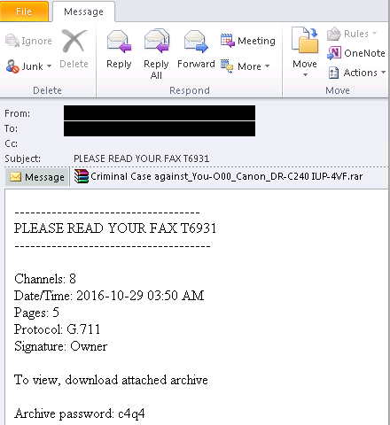 Email message masquerading as a fax but carrying TrojanDownloader:JS/Crimace.A as attachment