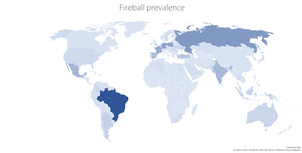 Regions where Fireball is prevalent