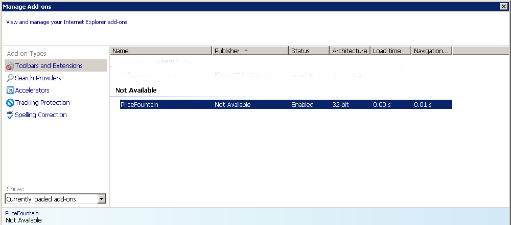 Figure 2: Screenshot of the threat as it displays as PriceFountain in the Toolbars and Extension section in the Manage Add-ons page.