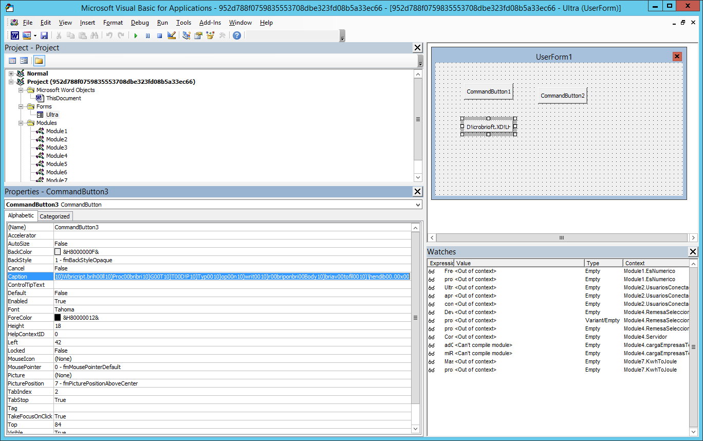 Screenshot of VBA script editor showing the user form and list of modules
