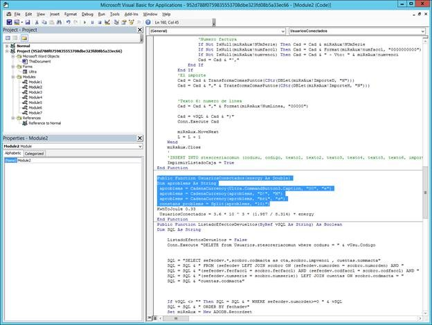 Screenshot of the VBA macro script in Module2 that decrypts the Caption string