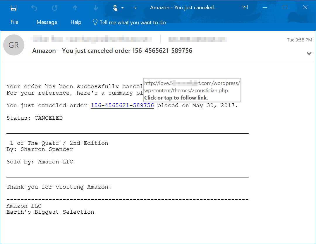Links in phishing-like emails lead to tech support scam - Microsoft