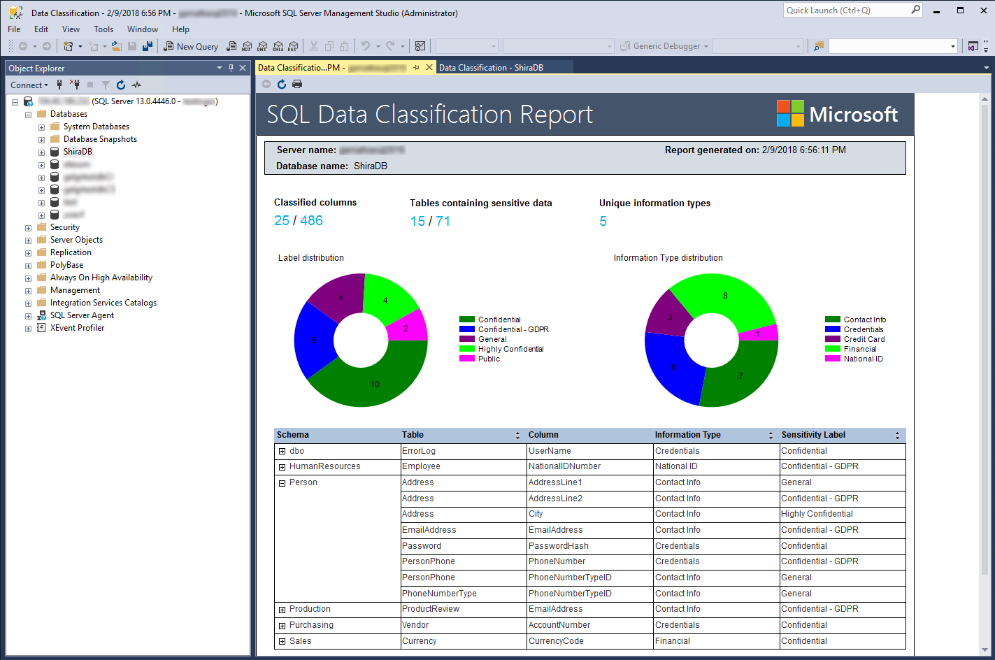 What S New In Ssms 17 5 Data Discovery And Classification Sql