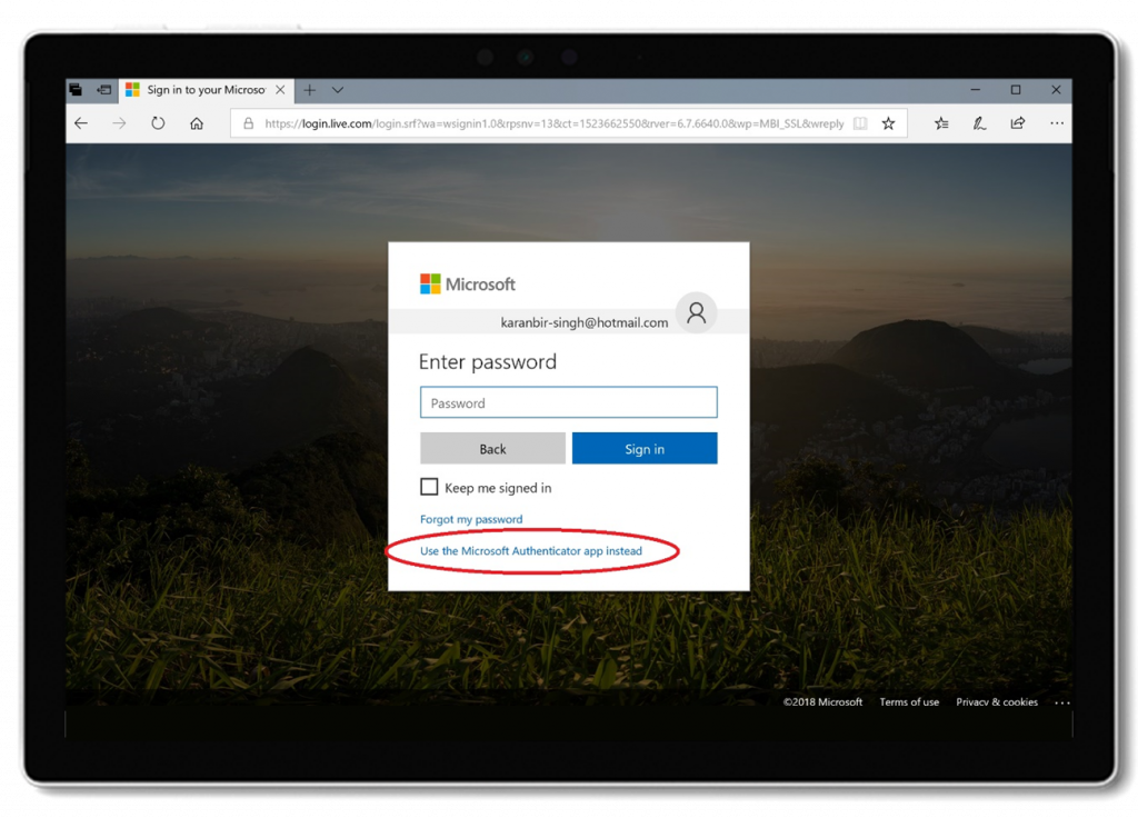 Select Microsoft Authenticator as default sign-in option.