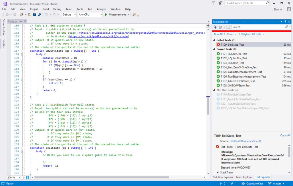 Working with the Quantum Katas in Visual Studio