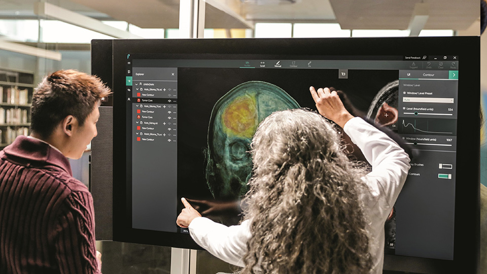 Woman reviewing Alzheimer's and Parkinson's brain scan