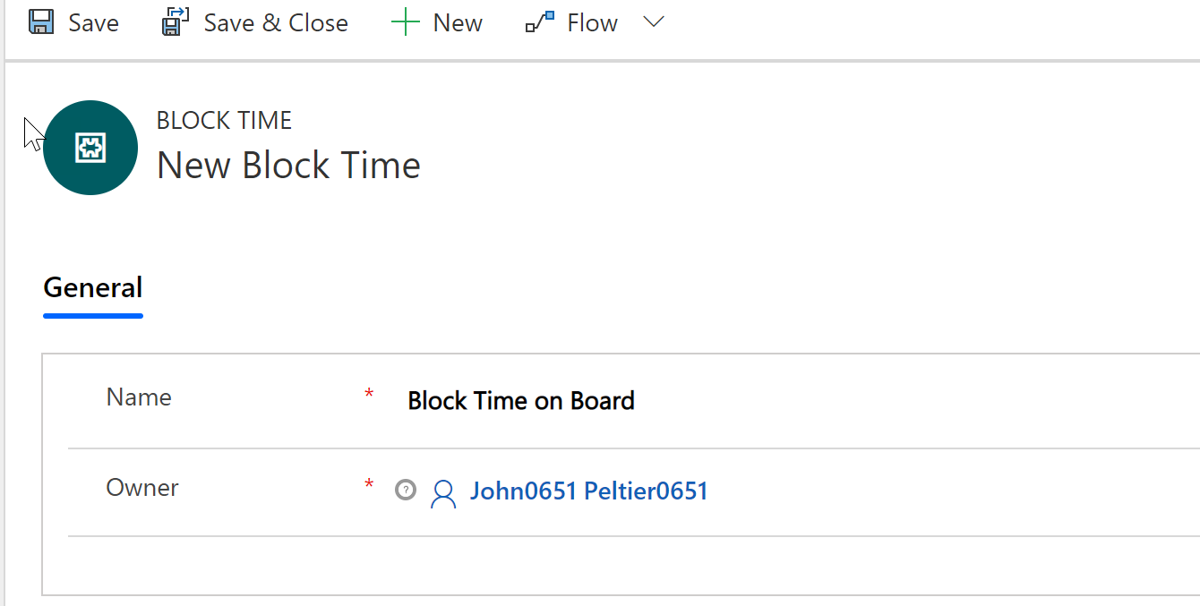 "Creating a ""block time"" record called ""block time on the board"""