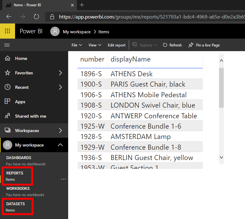 Report in Power BI online