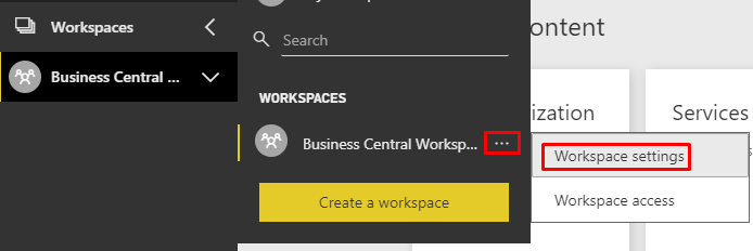 Open workspace settings