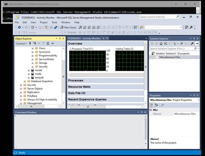 Screenshot of SQL Server with SQL Management Studio