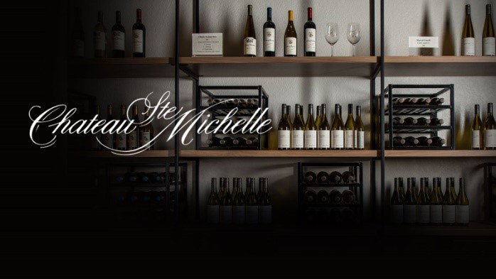 2) Chateau Ste. Michelle winery's wine on shelves.