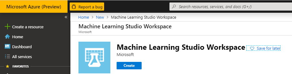 Azure Machine Learning Studio Workspace
