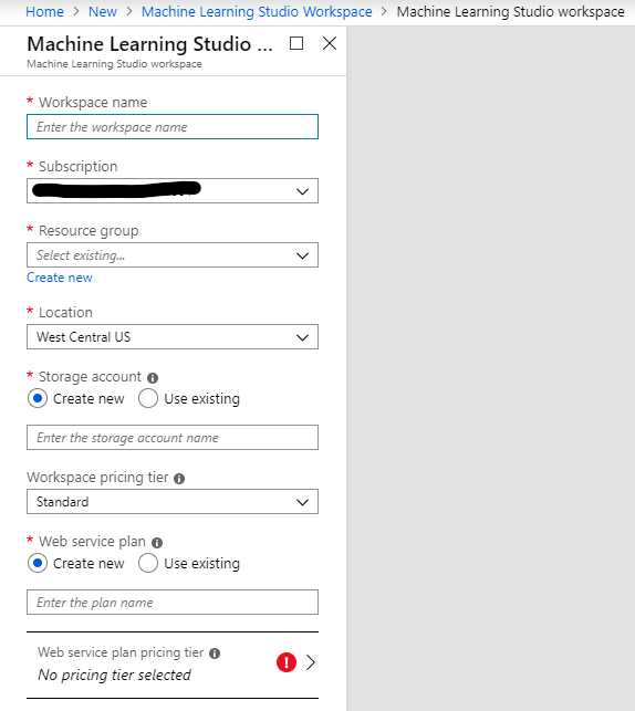Azure ML Studio Workspace Setup