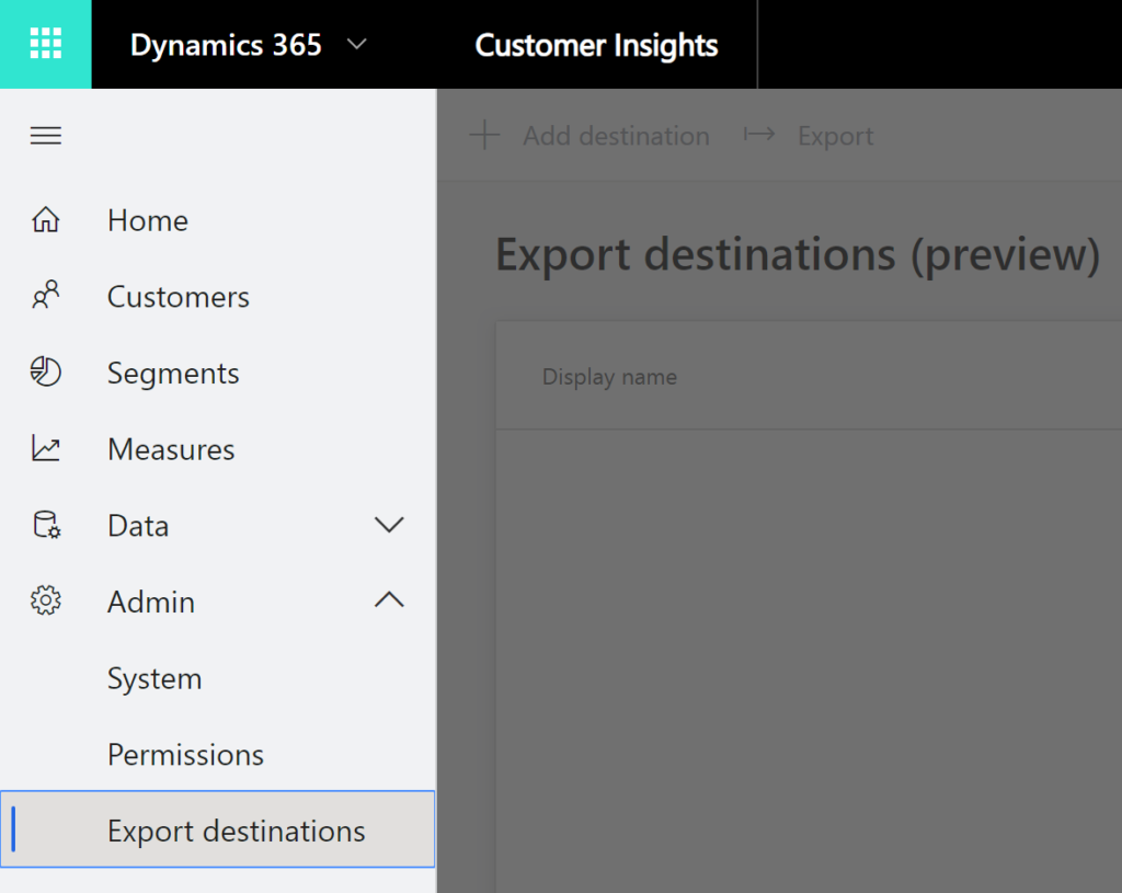 Navigation item for export destinations