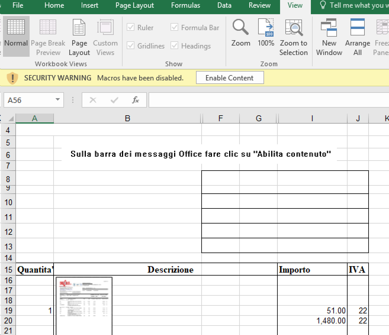 "Screenshot of malicious Excel document with instructions in Italian to click ""Enable content"""