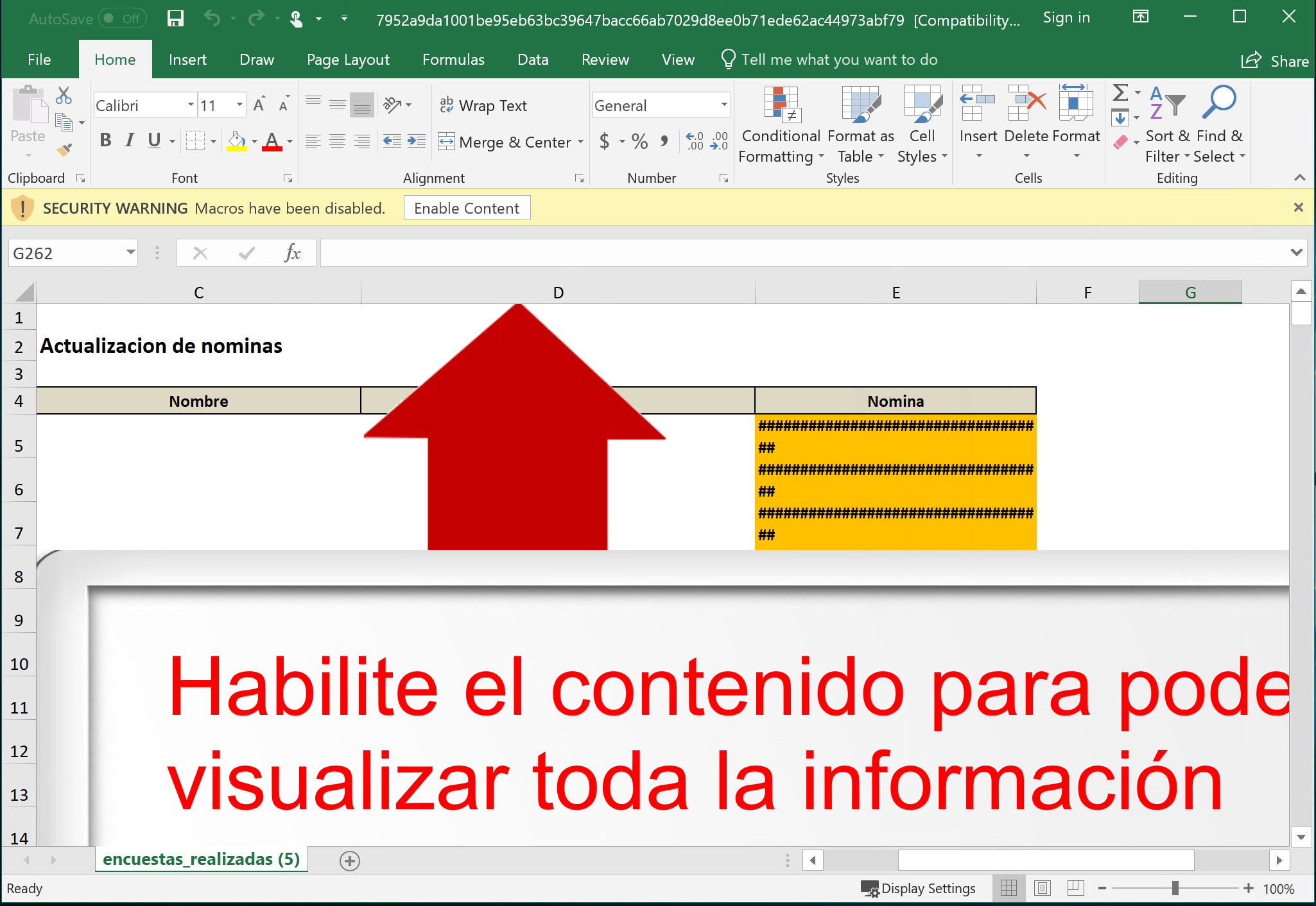Malicious Excel file with instructions to enable content.