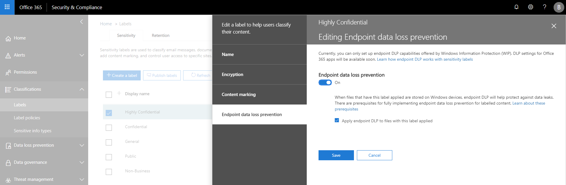 Figure 4. Office Security & Compliance Center – Endpoint data loss prevention configuration page