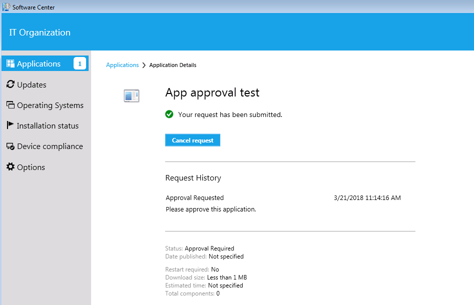 Supply reason and submit approval request