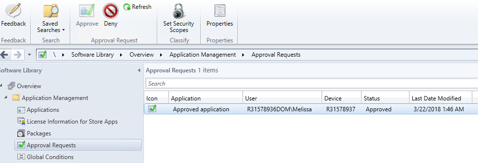 Approved app request in the console