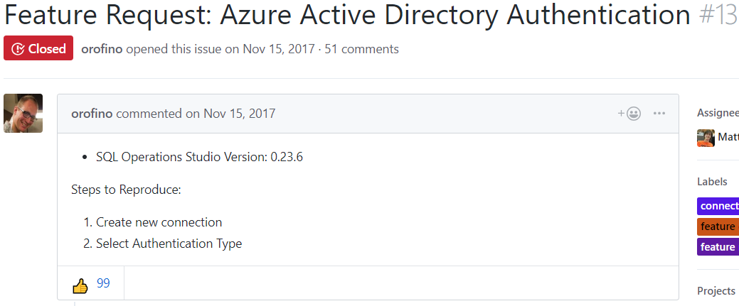 Screenshot of Feature Request for Azure Active Directory Authentication
