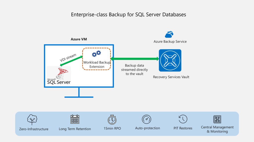 Back up SQL Server in Azure VM using Azure Backup.