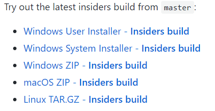 Insider build downloads.