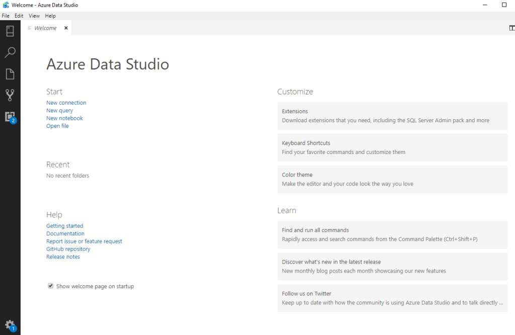 Welcome page in Azure Data Studio.