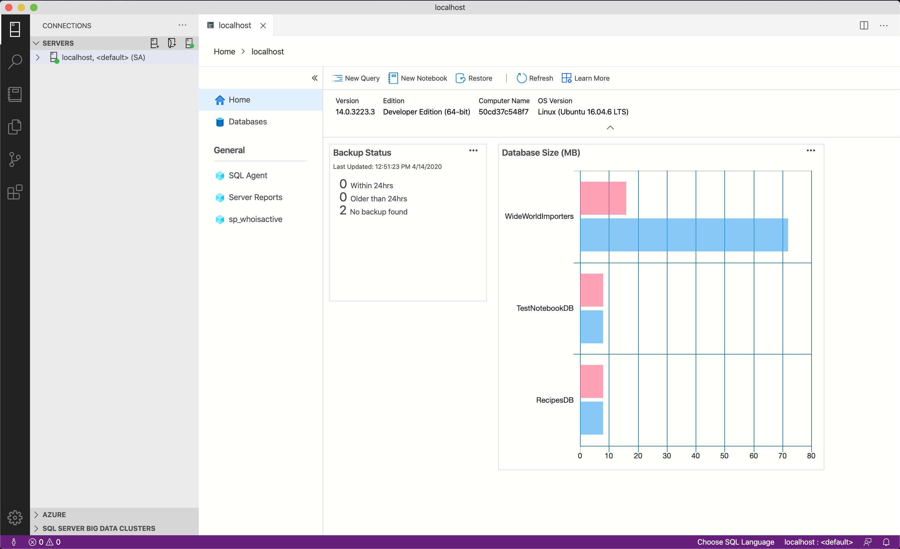 New Azure Data Studio dashboards